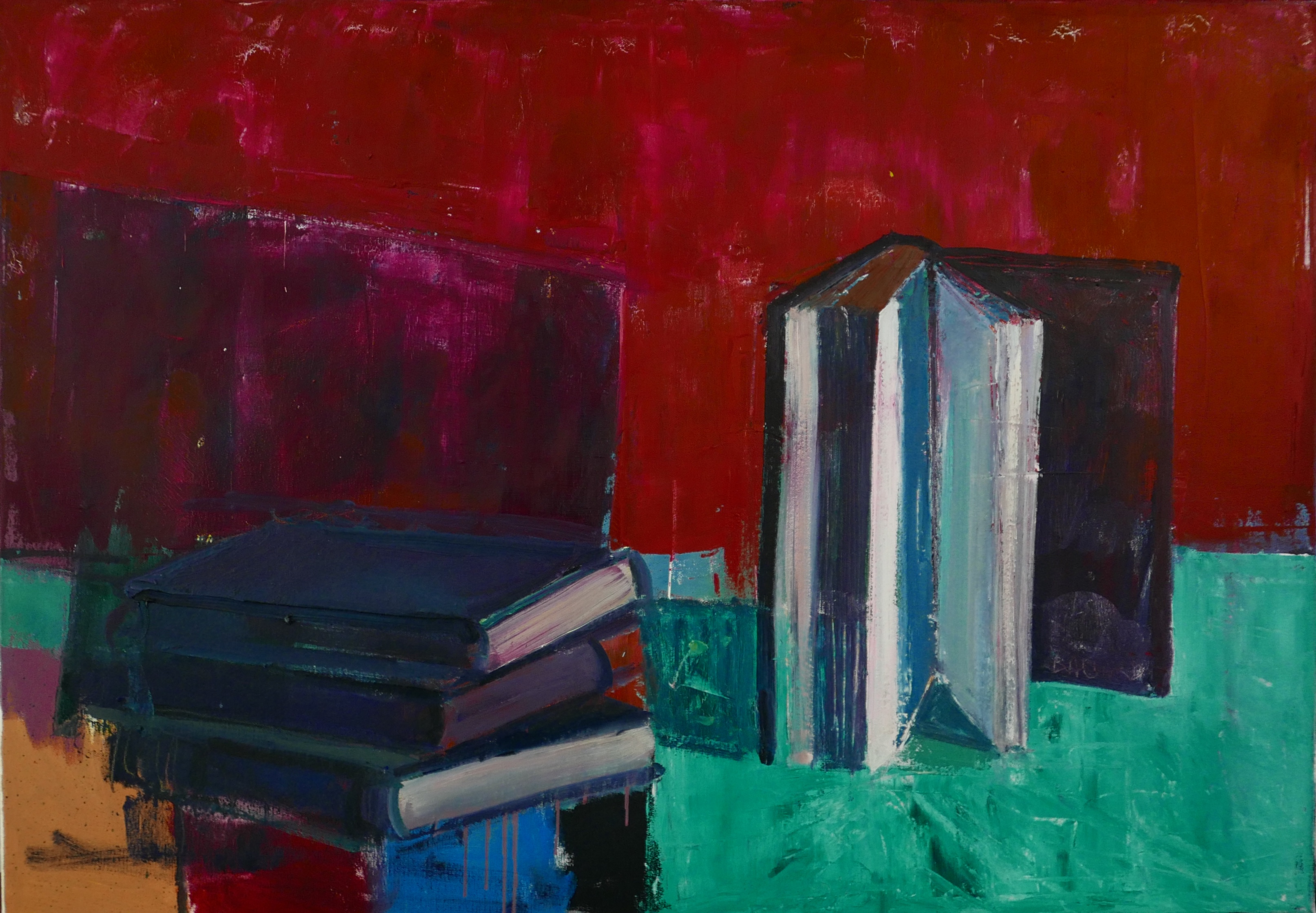 'Books on Green', oil on canvas, 70cm  x 100cm, £7000