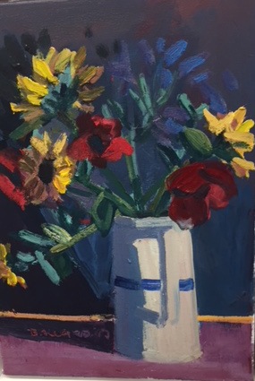 'Jug With Stripe' oil on canvas, 35.5cm  x  25cm,  £1,800