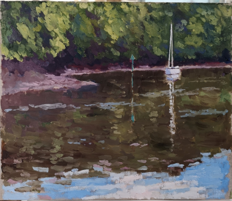'Reflections', oil on board, 25.4cm x 30.4cm, £1,300