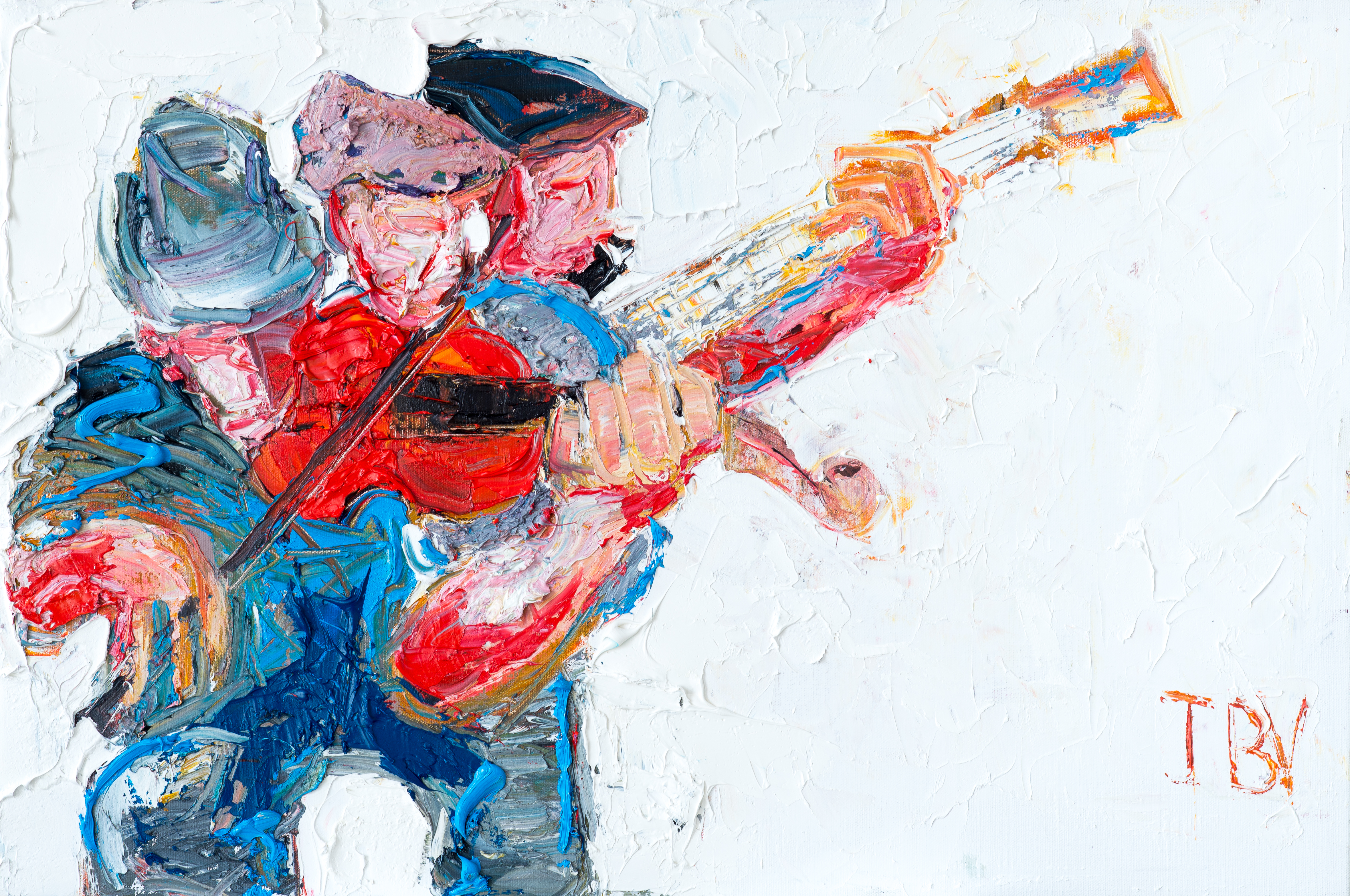 """'Trio with the Banjo Player', 20"""" x 30"""", oil on canvas"""