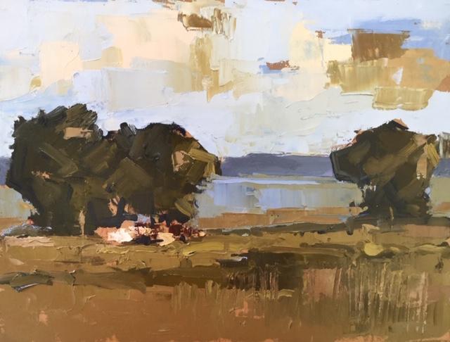 'Pastoral View II', oil on panel, 30cm x 35cm, £2900