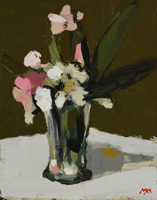 'Pink and White Bougainvillea', oil on panel, 23cm x 18cm,£1950
