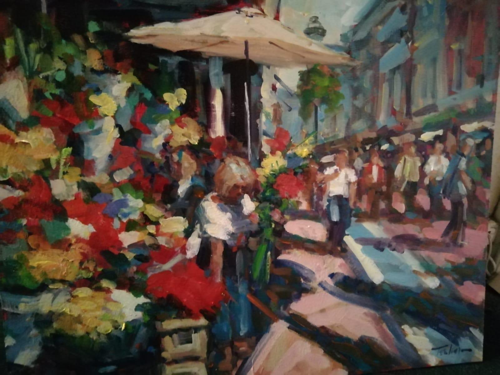 'Flower Sellers Dublin',  oil on board, 51cm x 61cm, £1, 800