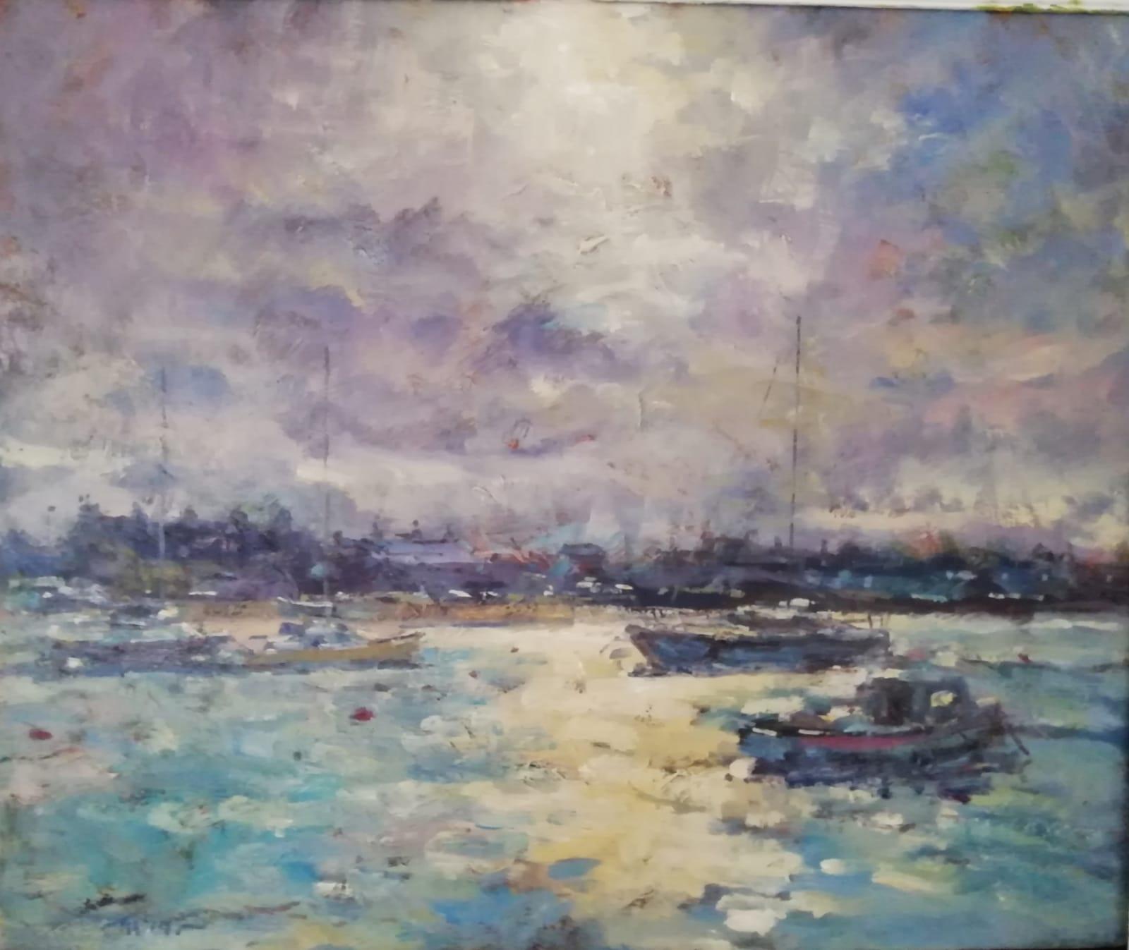 'Skerries Harbour', oil on canvas,  51cm x 61cm, £1,800