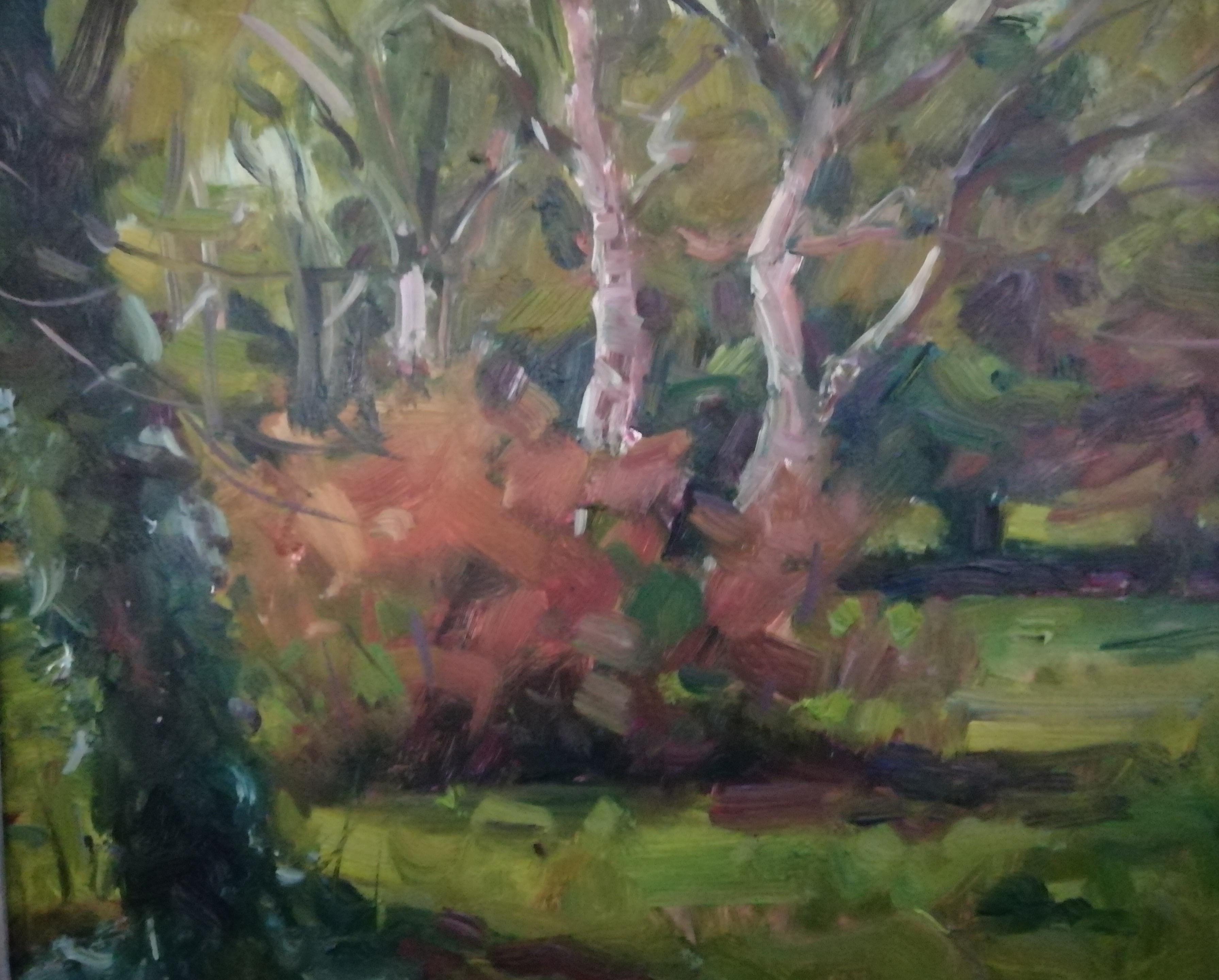 'Trees II', oil on board, 30cm x 46cm (unframed)£950