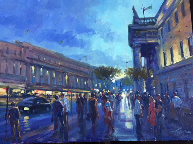O'Connell Street, Dublin  oil on board , 46cm x 61cm - £2000