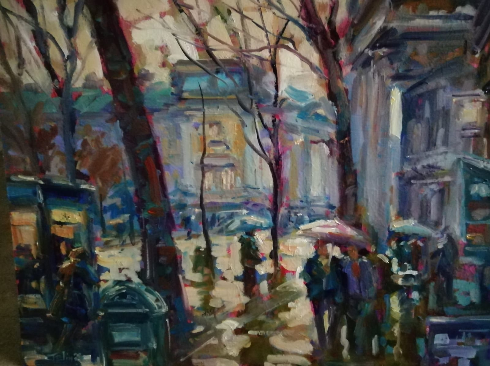 'Wet Afternoon College Green',  oil on board, 51cm x 61cm, £1,800