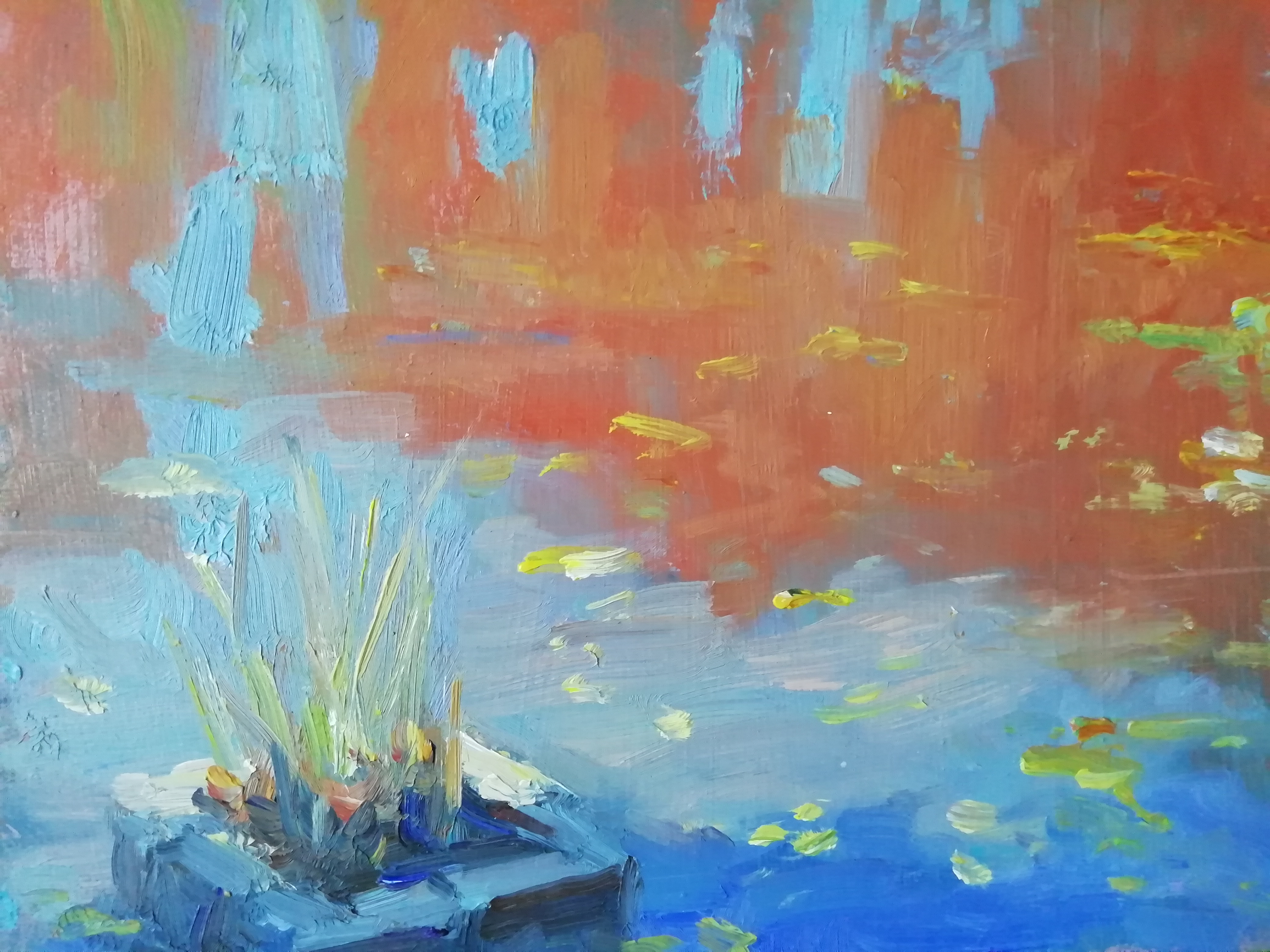 'The Lily Pond, St. Annes Park', oil on board, 20cm x 26cm (unframed) £750