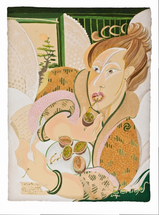 'Eating Passion Fruit in Bed 2014' watercolour and acrylic 81cm x 61cm - £12,800