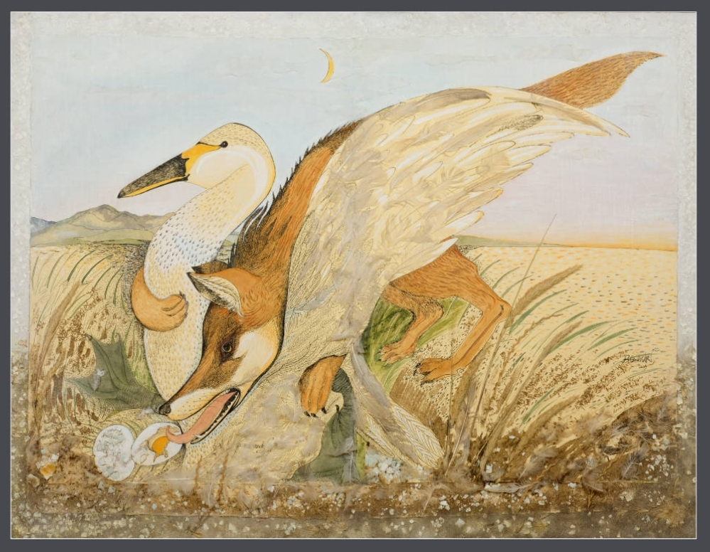 'Fox & Nesting Goose' 2009 Mixed Media 107cm x 136cm - £15,000