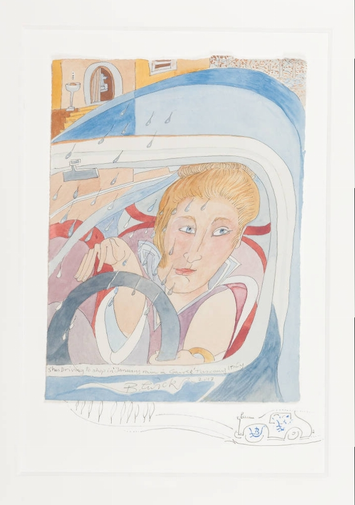 'She's Driving to Shop in January Rain in Gaoile, Tuscany, Italy' 2017 Watercolour 71cm x 56cm - £3,000