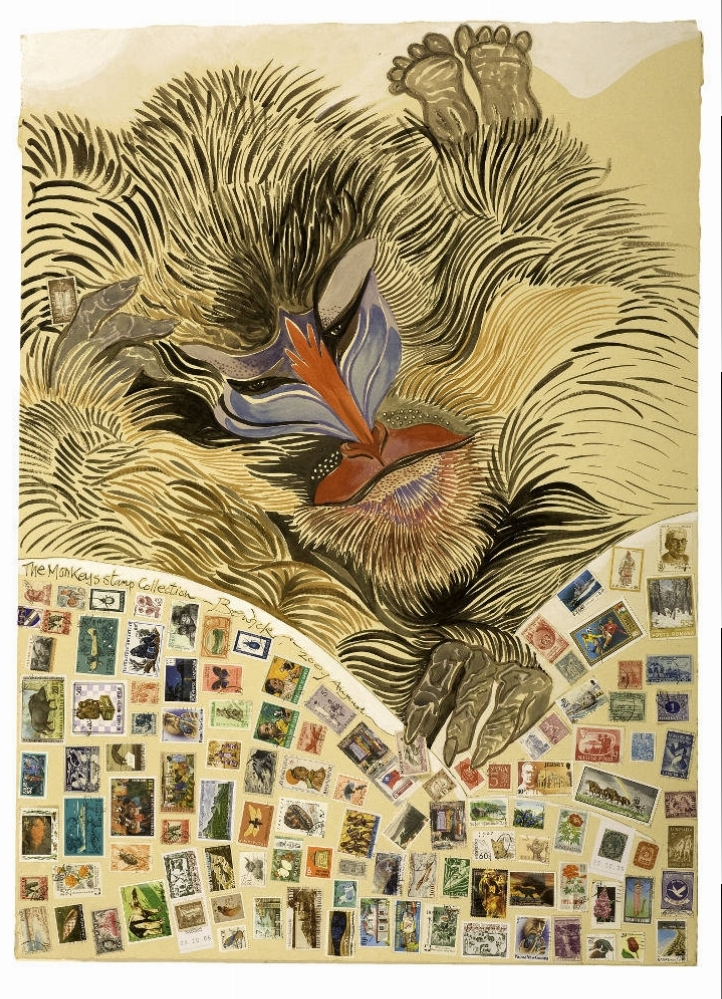 'The Monkey's Stamp Collection' 2009 Collage and acrylic 107cm x 84cm - £12,500