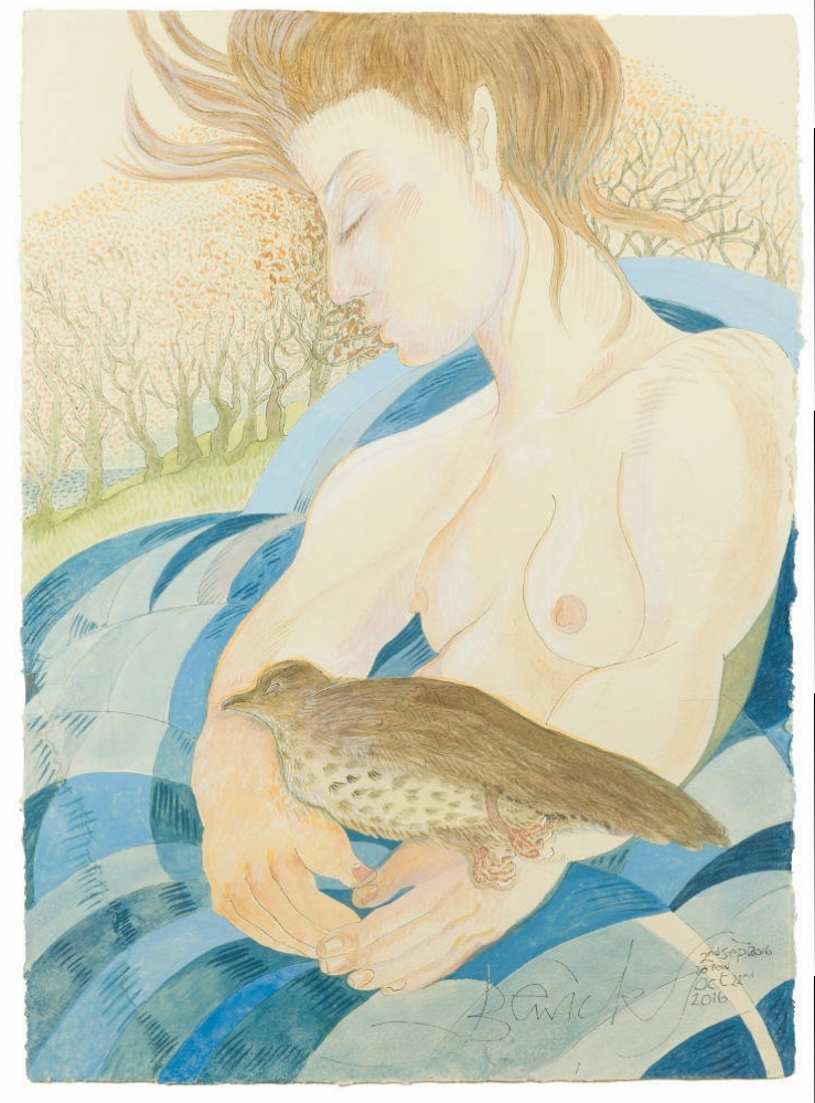 'Woman Holding Thrush' 2016 Watercolour and acrylic 104cm x 84cm - £12,800