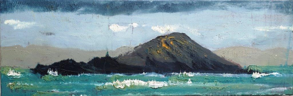 'Dinnish Island, Ballinskelligs Bay', oil on canvas, 30cm x 90cm,£1325