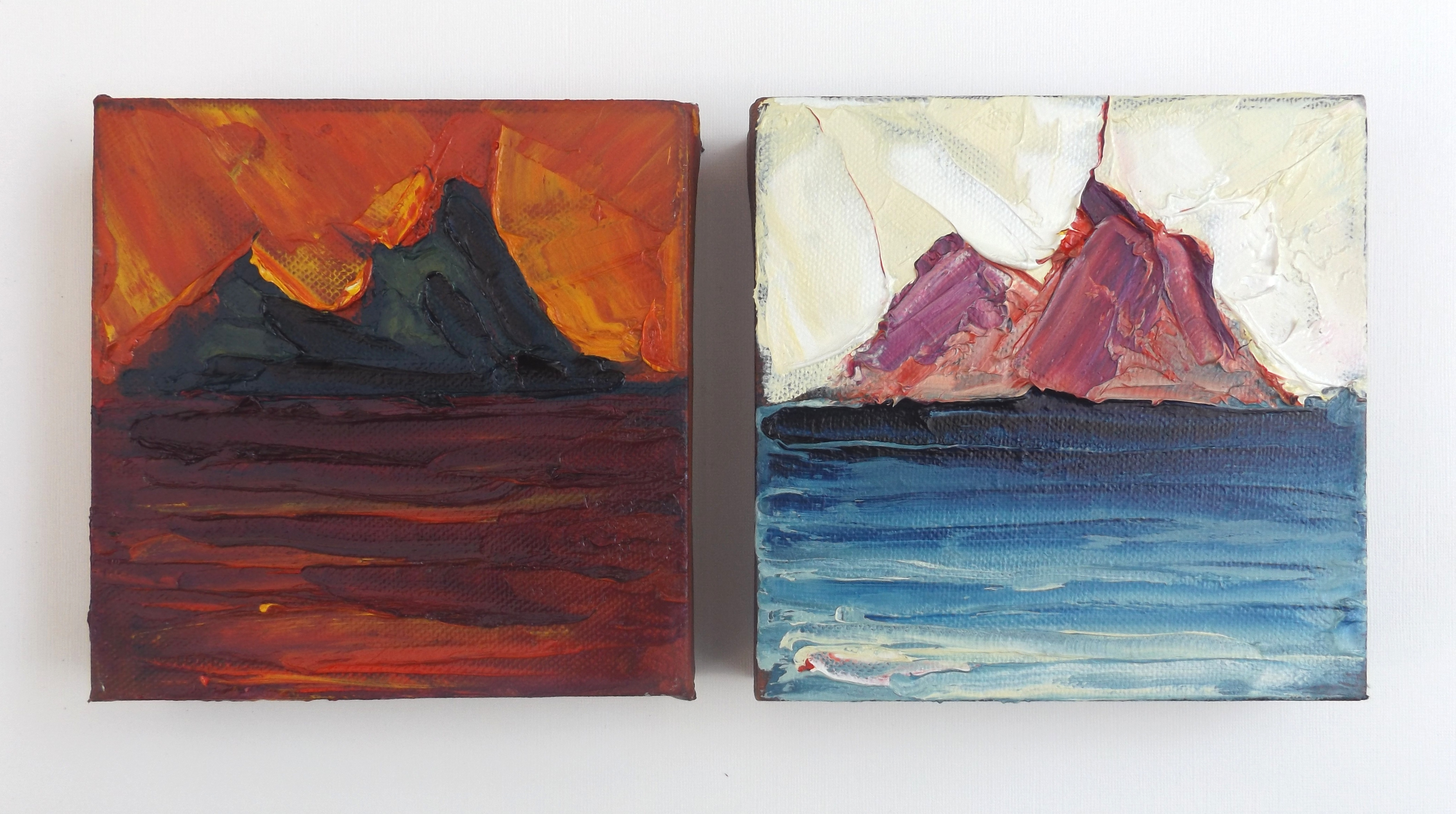 """'Skelligs Fire & Ice' oil on canvas 6"""" x 6"""" x 2 £575"""