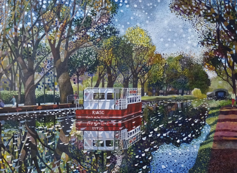 'The Red Barge, Portobello, Dublin', oil on canvas, 51cm x 71cm, £4200