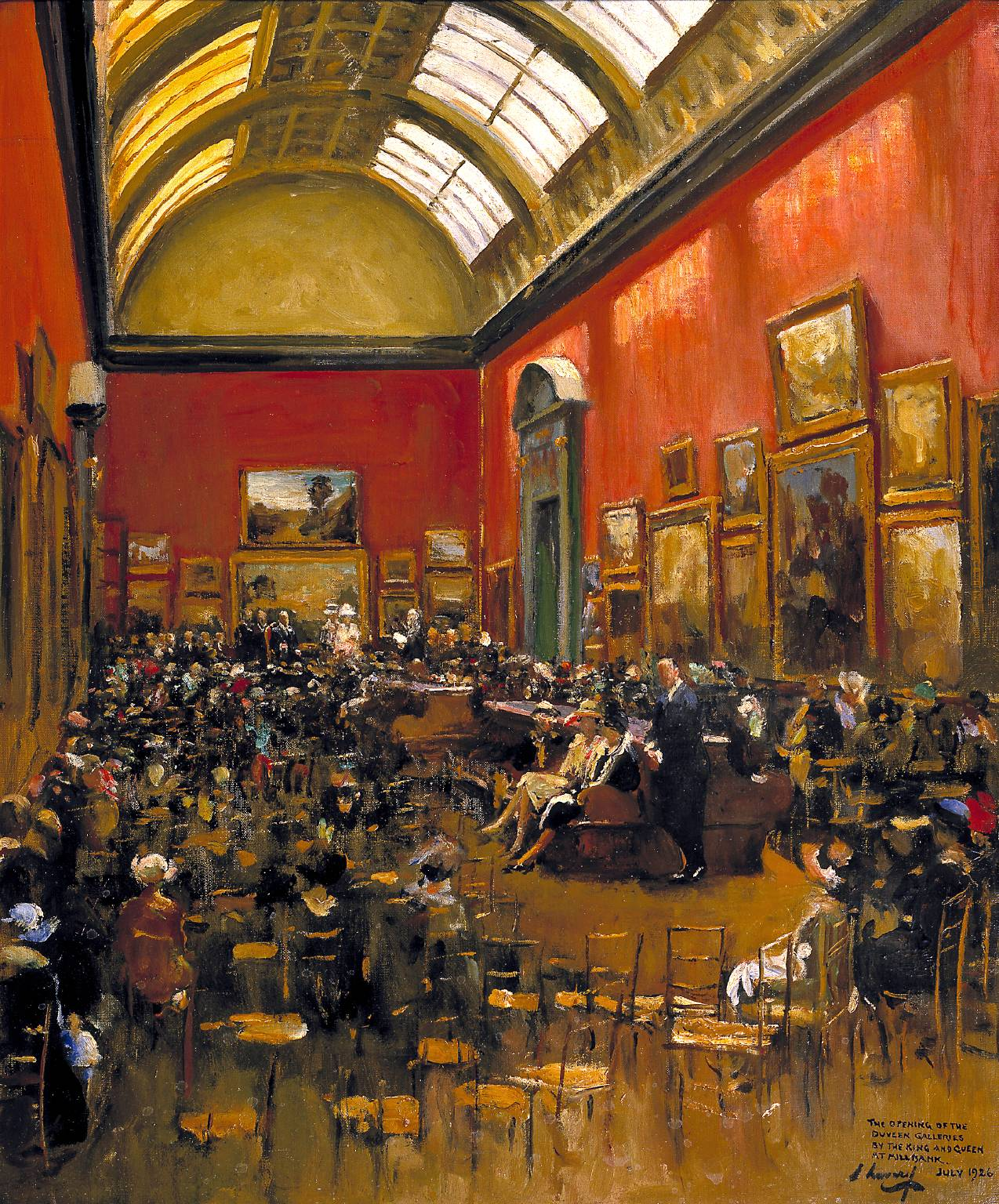 King George V, Accompanied by Queen Mary, at the Opening of the Modern Foreign and Sargent Galleries at the Tate Gallery, 26 June 1926 1926 Sir John Lavery 1856-1941 Presented by the executors of the estate of the Hon. Mrs Dorothy Rose Burns 1987 http://www.tate.org.uk/art/work/T04906