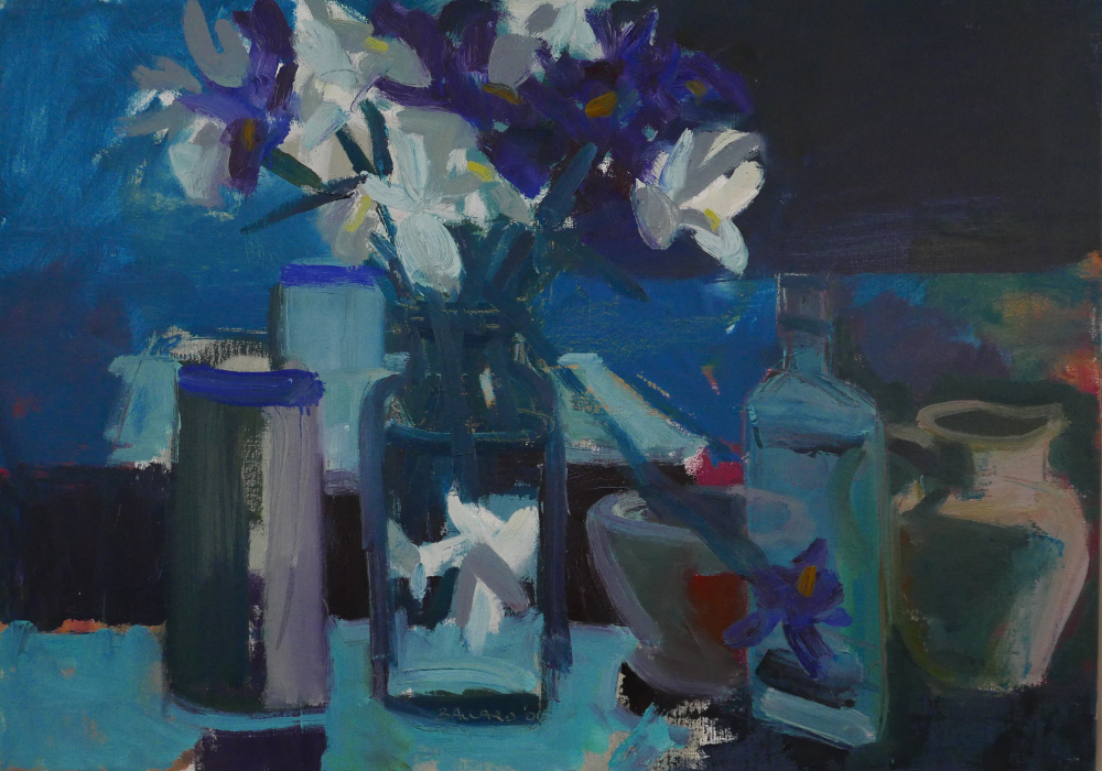 "'Irises with Jug', oil on canvas, 20"" x 27"", £8,000"