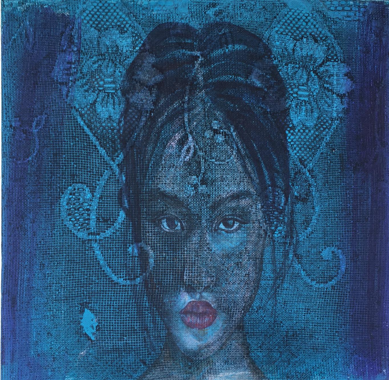 'Supermodel Blue Enigma,  Lace effect, oil on canvas, 30cm x 30cm,
