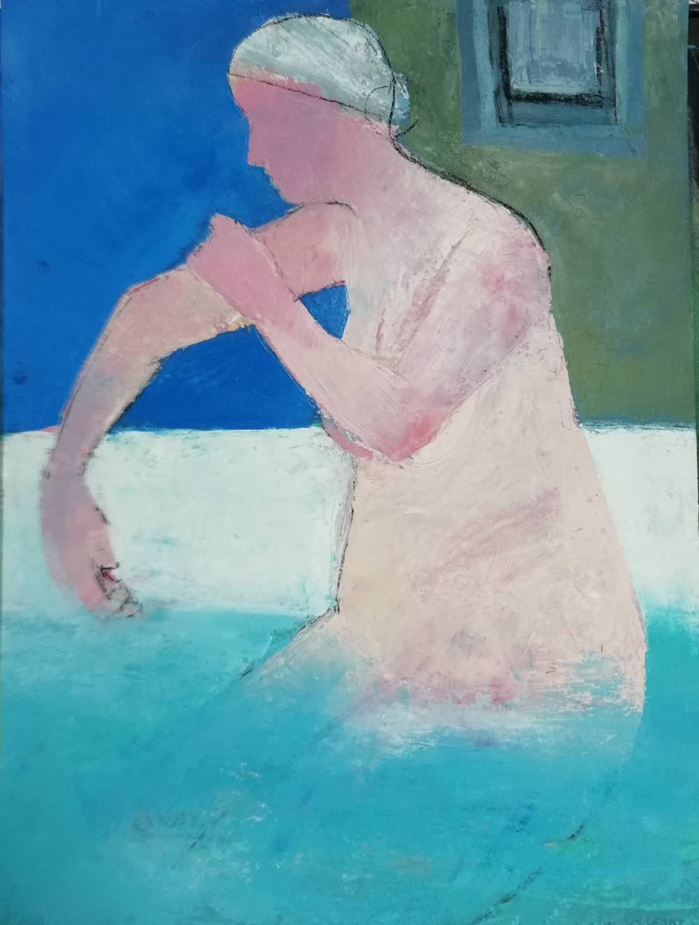 Blue bather, Oil on canvas, 61cm x 46cm, £950
