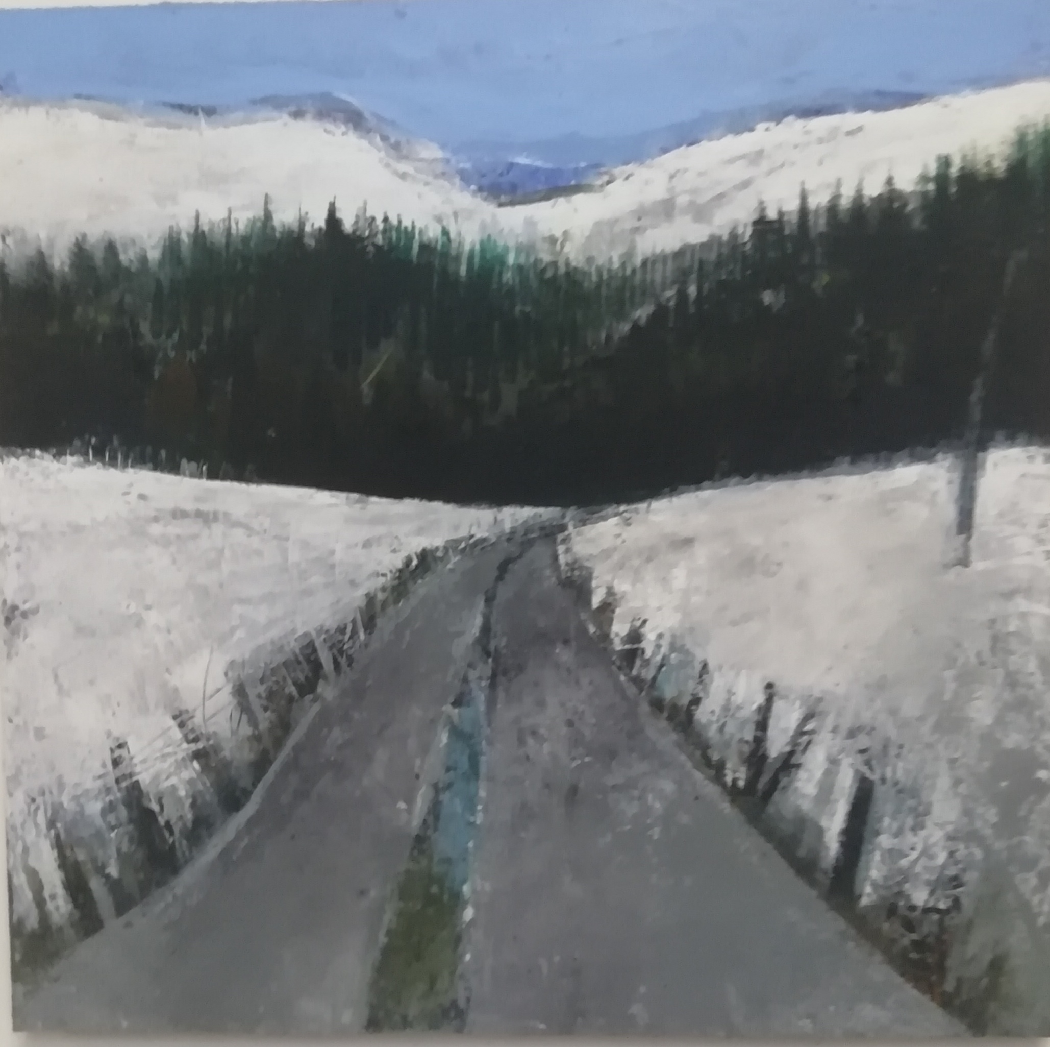 'Winter Road Gleniff', oil on board, 30cm x 30cm, £550