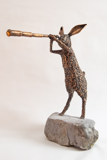 'The Inquisitive Hare', bronze, Ed of 11, 58cm x 52cm x 20cm