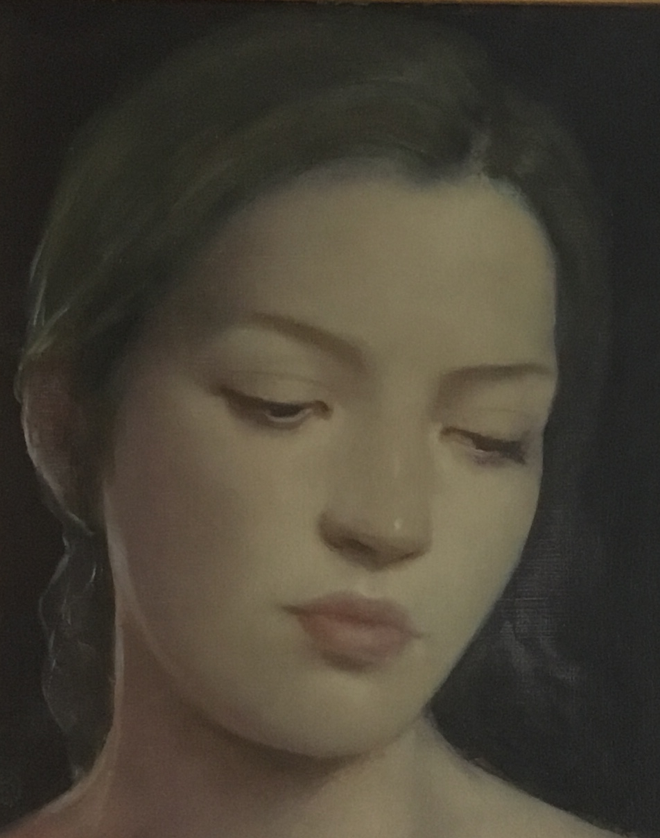 "'The Glance' oil on board 10"" X 8"", £3,500"