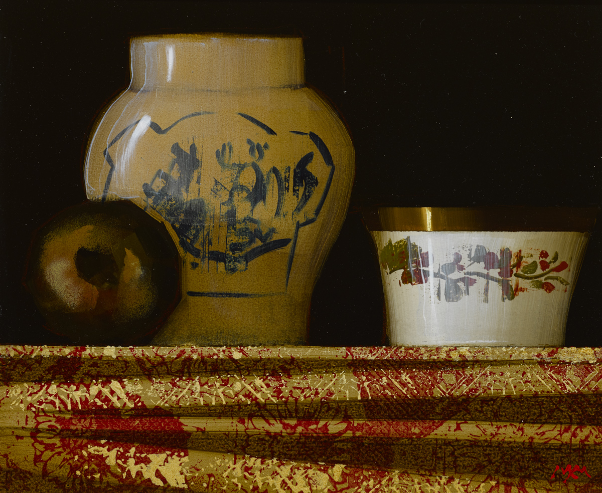 """SOLD Still Life with Chinese Vase, oil on panel, 10"""" x 12"""", £2,800"""