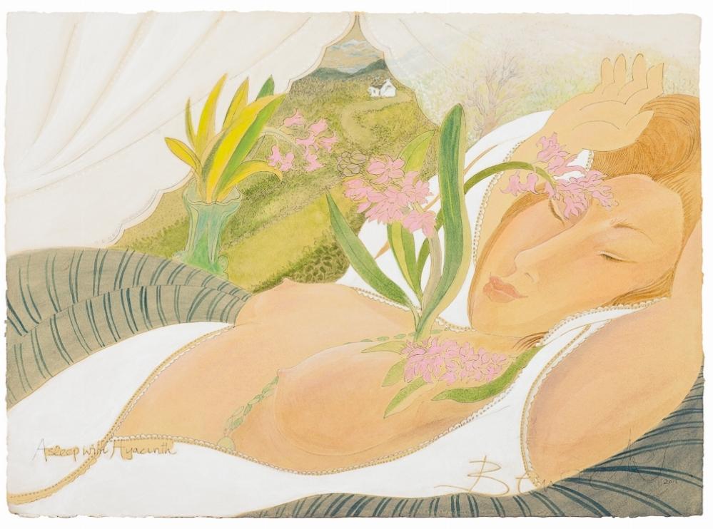 'Asleep With Hyacinth 2015' watercolour with acrylic 61cm x 81cm - £12,800