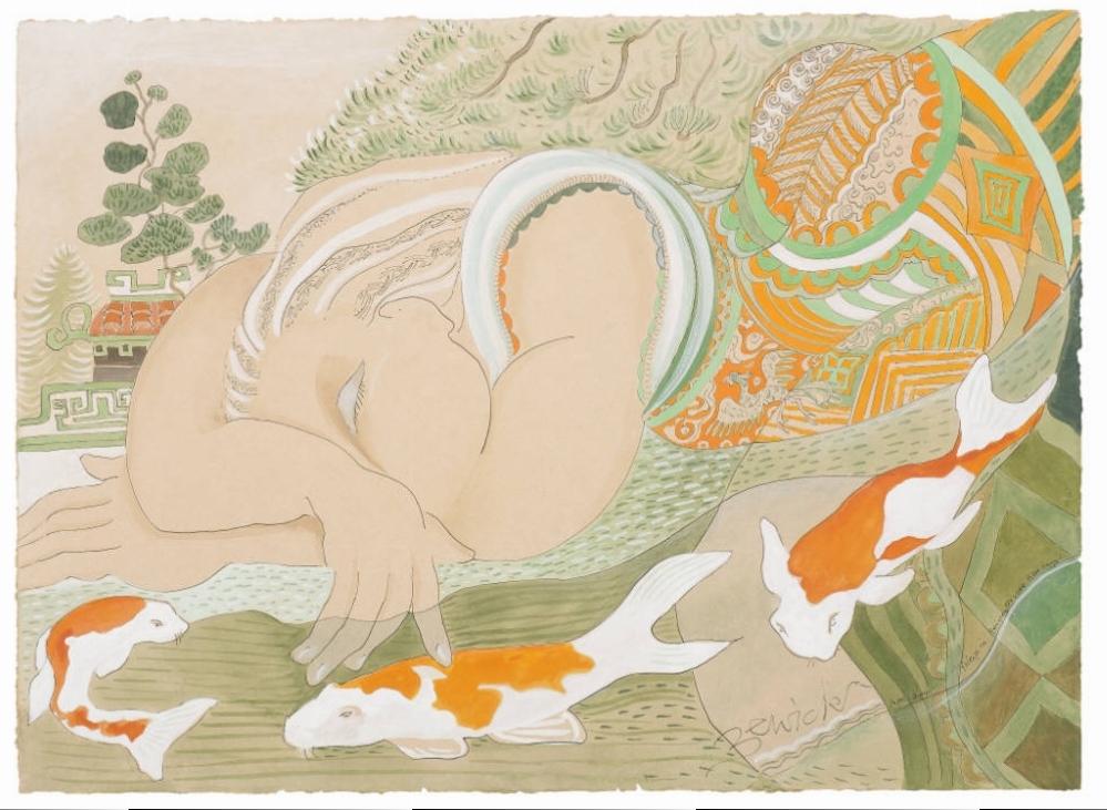 'Asleep with Koi Carp' 2010 Watercolour and acrylic 94cm x 112cm - £12,800