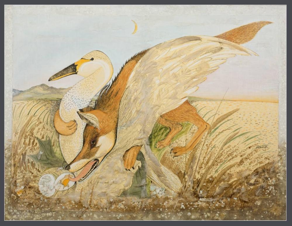 'Fox & Nesting Goose' 2009 Mixed Media 107cm x 136cm - £15,000