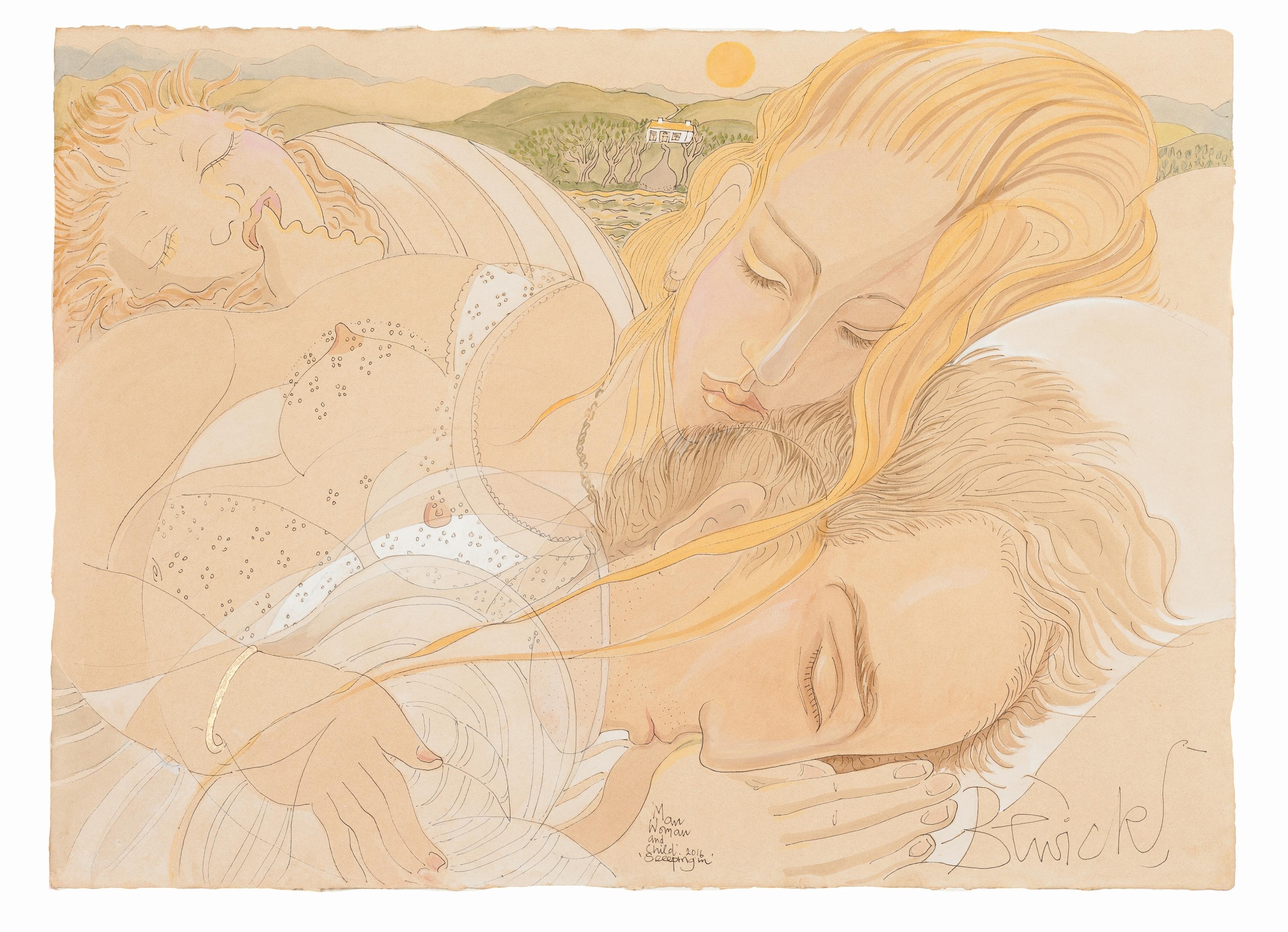 'Man Woman & Child Sleeping 2016' watercolour and acrylic 58cm x 79cm - £12,800
