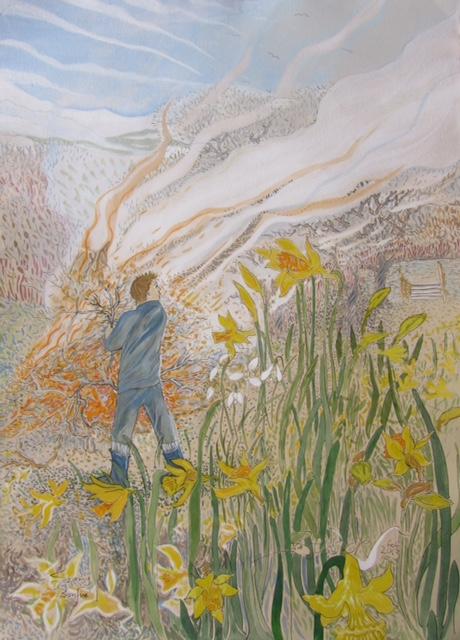'Spring Bonfire' 2013 Watercolour and acrylic 79cm x 58cm - £12,500