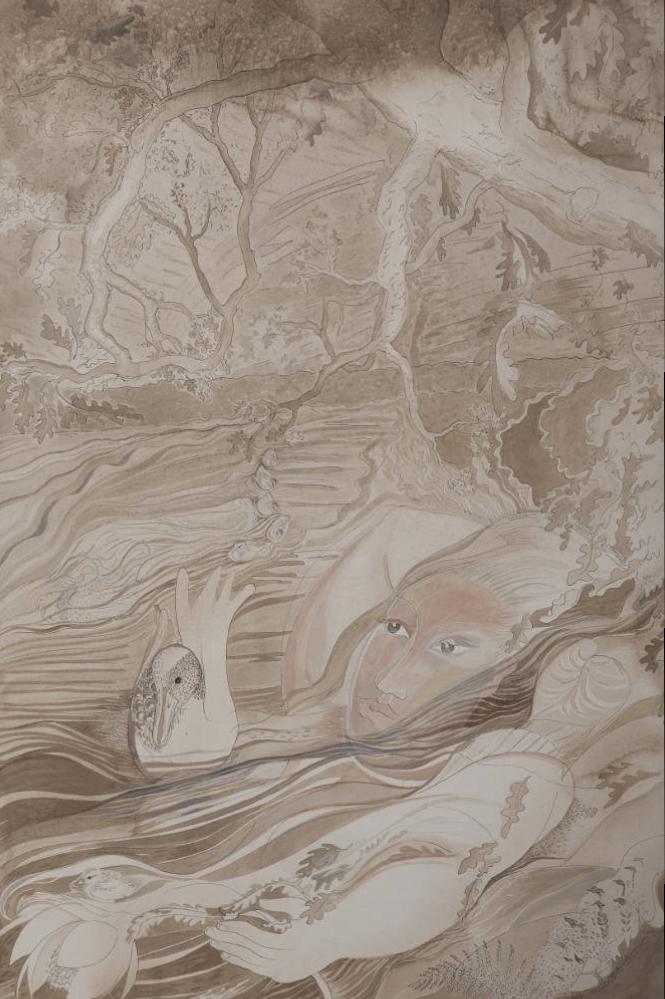 'Woman with Mallard & Oak Trees' 2014 Sepia Ink 78cm x 127cm